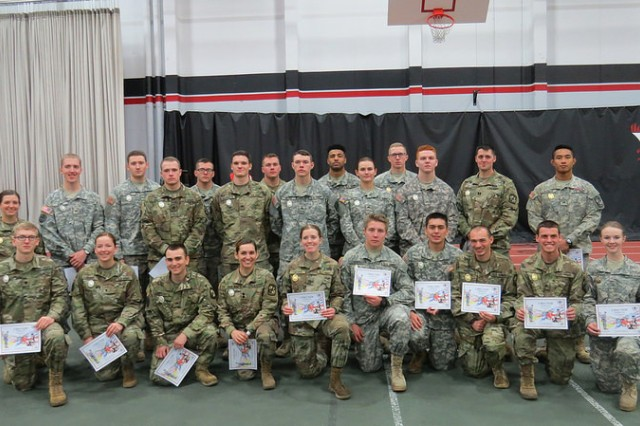Twenty-five Eastern Washington University ROTC Fighting Eagles Battalion Cadets and one Cadre member take a group picture wearing their well deserved German Armed Forces Proficiency Badges. The German Armed Forces Proficiency Badge Competition was hosted by EWU ROTC 17-18 November, 2108.