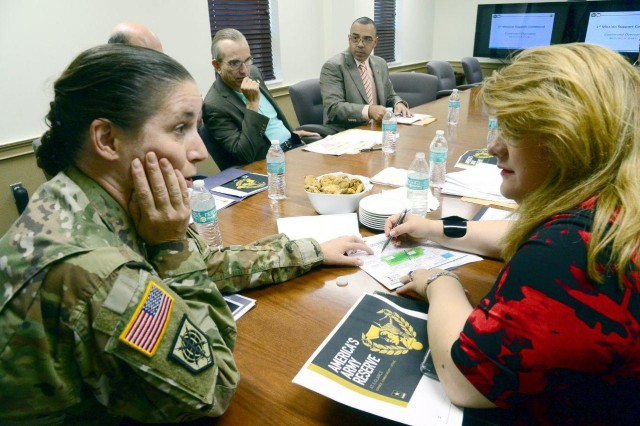 Brig. Gen. Dustin A. Shultz, senior federal Army Officer in the Caribbean, and Commanding General of the 1st Mission Support Command, U.S. Army Reserve-Puerto Rico, briefed Hon. Jennifer Gonzalez, Puerto Rico Resident Commissioner in Washington, Dec. 3, about the relevance of the Army Reserve in the region, and the status of the Command's infrastructure in the island.