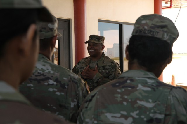 U.S. Army Command Sgt. Maj. Timothy Smith, the senior enlisted leader for Theater Support Group, 9th Mission Support Command, U.S. Army Reserve, and Joint Task Group-Saipan, expresses his gratitude to 9th MSC Soldiers at the Francisco C. Ada International Airport in Saipan, Commonwealth of the Northern Mariana Islands, Nov. 29, 2018, during a redeployment ceremony. After Super Typhoon Yutu hit the islands of Saipan and Tinian Oct. 24, several federal agencies immediately began a coordinated disaster response effort, including the Federal Emergency Management Agency, Department of Defense and local government, to help the people of these islands recover. DOD forces used in the initial typhoon response have begun redeploying at the direction of FEMA, based on the needs of the local government.