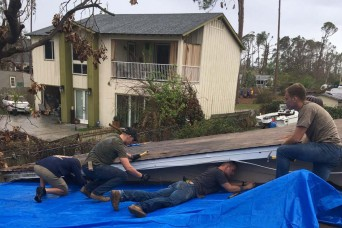 Soldiers help with relief efforts after Hurricane Michael