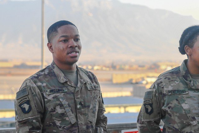 Soldiers assigned to Headquarters and Headquarters Company Task Force Destiny, Spc. TaShawn Redding and Spc. Aschlynd Spidell-Flores, are promoted to the rank of Sergeant at Bagram Airfield, Afghanistan Dec. 2, 2018. Redding is a human resources specialist from Charleston, South Carolina, who is currently assigned to TF Destiny's command team, while Spidell-Flores, an information technology specialist from St. Louis, Missouri, currently works with TF Destiny's S-6 shop.