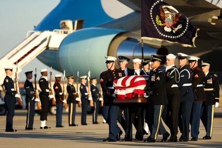 U.S. service members transfer the remains of former President George H.W. Bush at Joint Base Andrews, Md., Dec. 03, 2018. Military and civilian personnel assigned to Joint Task Force-National Capital Region provided ceremonial and civil affairs support during President George H.W. Bush's state funeral.