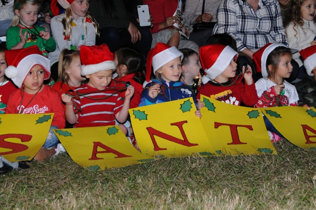 A children's choir performs at the Fort Rucker Christmas Tree Lighting Ceremony Dec. 3 at Howze Field.