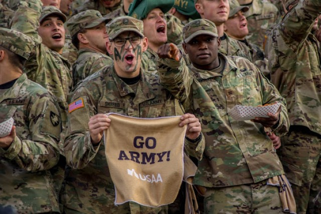 U.S. Military Academy cadets cheer on the Army Black Knights during their football game against the Air Force Falcons at Michie Stadium in West Point, N.Y., Nov. 3, 2018. Army will face the Navy Midshipmen for the 119th time on Dec. 8, 2018, in Philadelphia.
