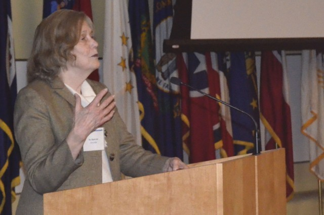 Dr. Marti Jett, Senior Executive Service, U.S. Army Chief Scientist for Systems Biology, U.S. Army Medical Research and Materiel Command, gives the keynote address at the Integrative and Collaborative Biomedical Research for the 21st Century Workshop held Nov. 29-30, 2018, on Fort Detrick. The event gave representatives from both USAMRMC laboratories and DOD organizations a forum to showcase ideas and collaborate on important scientific topics.