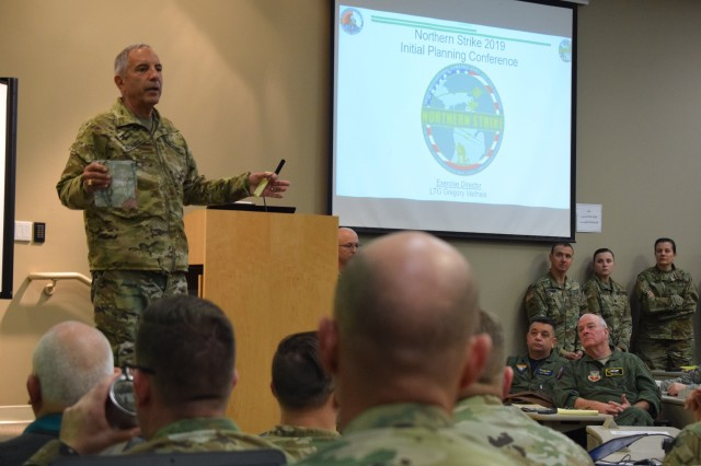Maj. Gen. Gregory Vadnais, Michigan National Guard adjutant general, speaks at the Northern Strike 19 Initial Planning Conference (IPC), Fort Custer Training Center, Mich., Dec. 4, 2018.