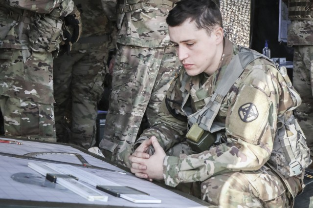 1st Lt. April LaBreque, Basic Officer Leader Course student and battalion assistant fire support officer, conducts a fire support rehearsal during Red Leg War Nov. 27, 2018, at Fort Sill, Okla. Red Leg War is the capstone event for field artillery officers going through BOLC.