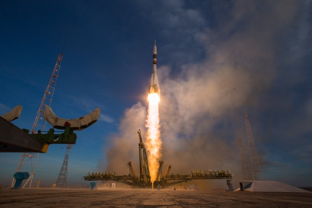 A Soyuz booster rocket launches the Soyuz MS-11 spacecraft from the Baikonur Cosmodrome in Kazakhstan on Monday, Dec. 3, 2018, Baikonur time, carrying Expedition 58 Soyuz Commander Oleg Kononenko of Roscosmos, Flight Engineer Anne McClain of NASA, and Flight Engineer David Saint-Jacques of the Canadian Space Agency (CSA) into orbit to begin their six and a half month mission on the International Space Station.