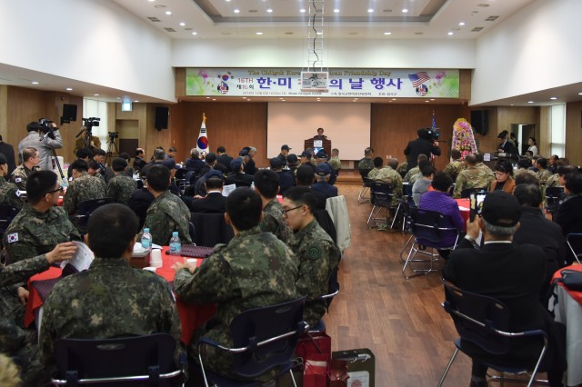 More than 200 people attended the 16th Chilgok Korean-American Friendship Day event Dec. 6 at the Chilgok County Chamber of Commerce and Industry Hall in Waegwan, Korea.