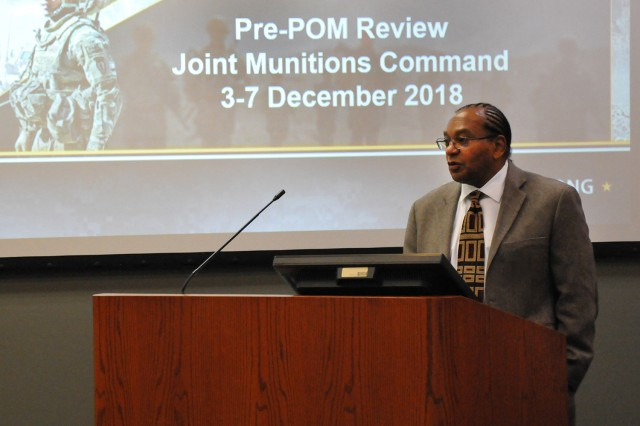 Bobby Ransom, Headquarters, Department of the Army, G-8 office, Munitions Branch, addresses Department of the Army senior leaders during the Conventional Ammunition Program Objective Memorandum budget review, held at Rock Island Arsenal, December 4 and 6.
