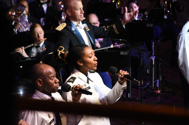The U.S. Army Europe Band and Chorus performs a thank-you concert for the city of Wiesbaden and state of Hessen Dec. 6, 2018, at the Wiesbaden Kurhaus.