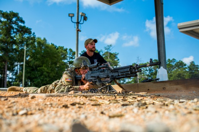 FORT BENNING, Ga. (Sept. 21, 2018) - As part of the pilot to extend one-station unit training for Infantry Soldiers from 14 to 22 weeks, trainees received instruction on the M240-series medium machine gun Sept. 21 at Malone Range complex, at Fort Benning, Georgia. Changes to OSUT are meant to increase Soldier readiness, making them more lethal and proficient before they depart for their first duty assignment. Before OSUT transformation the Soldiers received M240 instruction after completing OSUT. (U.S. Army photo by Patrick Albright, Maneuver Center of Excellence, Fort Benning Public Affairs)
