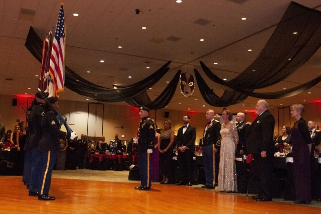 William Beaumont Army Medical Center Color Guard posts the colors during William Beaumont Army Medical Center's Holiday Ball at the Centennial Conference and Banquet Center, Dec. 1.