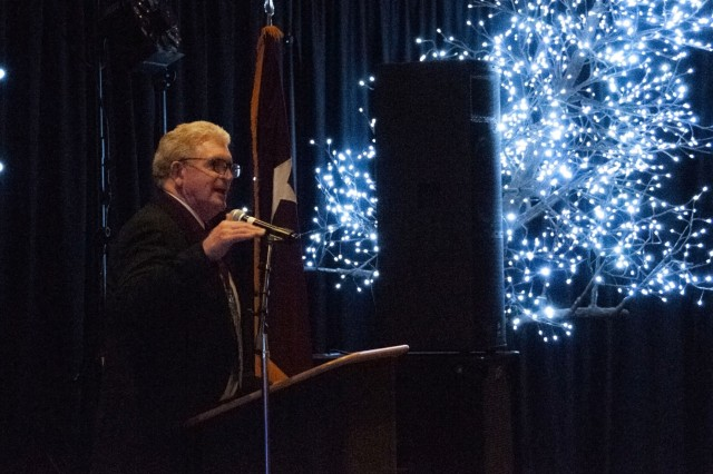 Retired Lt. Gen. Eric Schoomaker, 42nd Surgeon General of the U.S. Army and former commanding general of U.S. Army Medical Command, speaks during the William Beaumont Army Medical Center's Holiday Ball at the Centennial Conference and Banquet Center, Dec. 1.  Holiday Ball at the Centennial Conference and Banquet Center, Dec. 1.