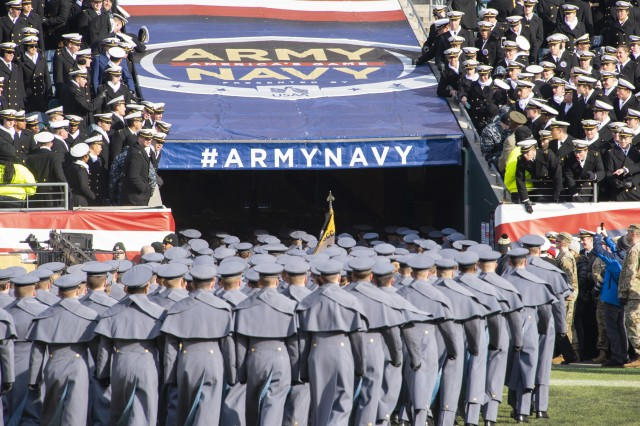U.S. Military Academy cadets march off the field before the Army-Navy game in Philadelphia, Dec. 8, 2018. Army won 17-10 for its third straight win over their archrival.