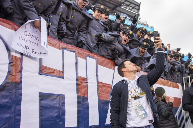 Actor Mark Wahlberg takes a selfie with cadets before the Army-Navy game in Philadelphia, Dec. 8, 2018. Army won 17-10 for its third straight win over their archrival.