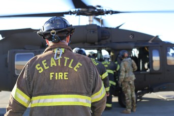 The Seattle Fire Department conducts training with the Washington National Guard