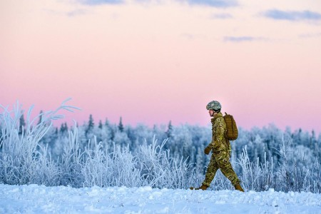 A paratrooper walks to the rally point after completing an airborne training jump at Malemute drop zone, Joint Base Elmendorf-Richardson, Alaska, Jan. 9, 2018. The Soldiers of 4th Infantry Brigade Combat Team (Airborne), 25th Infantry Division, belon...