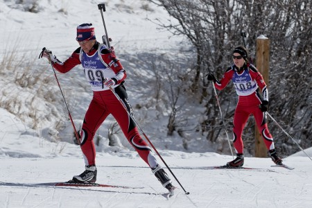 Soldiers race uphill during the sprint event at the Chief National Guard Bureau Biathlon Championships in Soldier Hollow, Utah, Feb. 25, 2018. Blanke won gold medals in the sprint and pursuit races at the 2017 championship in Wyoming.