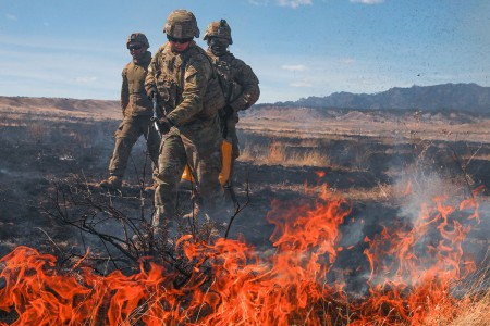 Soldiers from 3rd Armored Brigade Combat Team, 4th Infantry Division, fight range fires during an M1A2 Abrams tank gunnery operation, March 8, 2018, at Fort Carson, Colo.