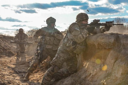 Paratroopers conduct a platoon live-fire exercise during two week long training exercise at Fort AP Hill, Va., March 13, 2018.