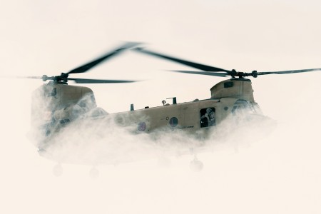 A CH-47 Chinook helicopter prepares to land and insert New York Army National Guard Soldiers, into their landing zone at Java Center, N.Y., March 10, 2018. More than 40 Soldiers will spend two days training in harsh conditions on reconnaissance tactics, utilizing infiltration and exfiltration techniques by helicopter.