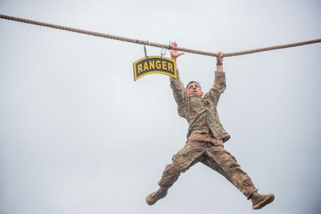 The remaining teams of Ranger-qualified Soldiers take part in several events to test physical endurance, mental agility, and technical and tactical skills for the 2018 Best Ranger Competition, at Fort Benning, Ga., April 14, 2018. The David E. Grange Jr. Best Ranger Competition is an annual event in its 35th iteration to determine the top-performing two-person Ranger team from units across the Army as well as sister services.
