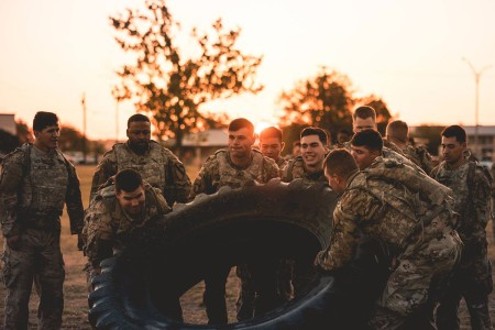 Soldiers train to prepare for combat operations, to become physically and mentally tough, capable of operating at peak performance under stress and exhaustion. 1st Squadron, 5th Cavalry Regiment, combined team building and combat conditioning into a physical fitness competition, at Fort Hood, Texas.