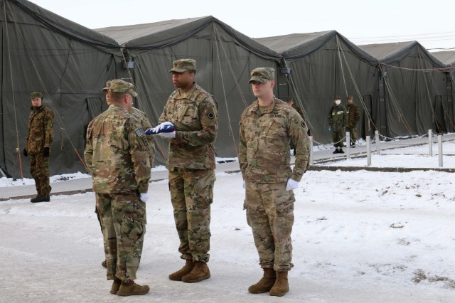 Soldiers from America's First Corps prepare for a bilateral flag raising ceremony during Yama Sakura 75 at Camp Higashi-Chitose, Hokkaido, Japan, Dec 11, 2018. American and Japanese forces raised their nations' flags in unison to represent the teamwork involved in the exercise. Yama Sakura is a joint training exercise that strengthens America's alliance with the Japan Ground Self Defense Force and commitment to assisting in keeping the region secure. U.S. Army photos by Sgt. Erica Earl