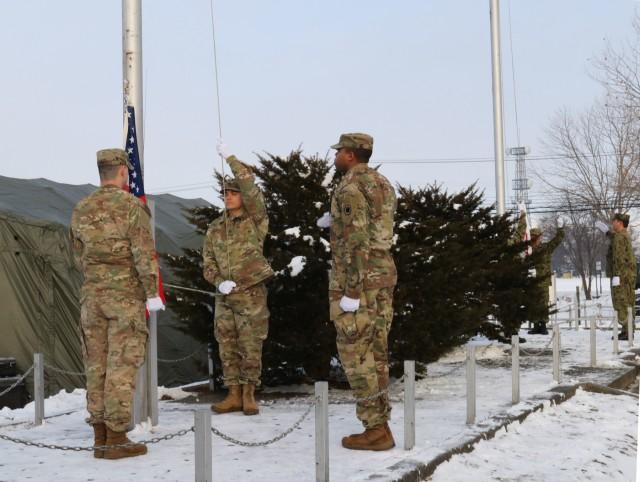 U.S. and Japan unite in flag raising ceremony at Yama Sakura 75