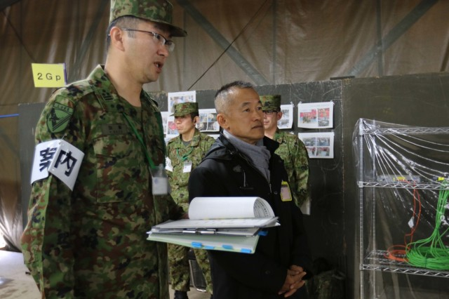 The Director of Operations of the Joint Staff Office for the Japan Ground Self Defense Force, Lt. Gen. Atsushi Hikita, visits Camp Higashi-Chitose, Hokkaido, Japan, Dec 11, 2018, during Yama Sakura 75. Yama Sakura is a bilateral exercise between the U.S. Army and the JGSDF that strengthens the alliance between the U.S. and Japan through sharing ideas, tactics, and military expertise. U.S Army photo by Sgt. Erica Earl