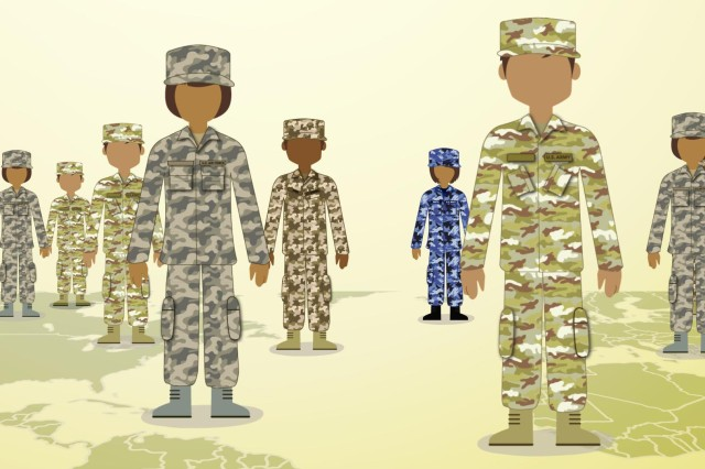 A graphic represents service members from around the world who are eligible to participate in Blended Military Retirement System.