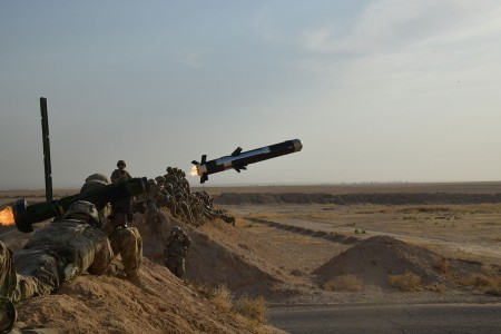U.S. Soldier assigned to the 3rd Cavalry Regiment and deployed in support of Combined Joint Task Force -- Operation Inherent Resolve, fires a Javelin anti-tank missile near Al Asad Air Base, Iraq, Sept. 26, 2018. The Javelin was a part of a live-fire, react to contact training exercise involving M2A1 and M240B machine guns. AAAB is a CJTF-OIR enhanced partner capacity location dedicated to training partner forces and enhancing their effectiveness.