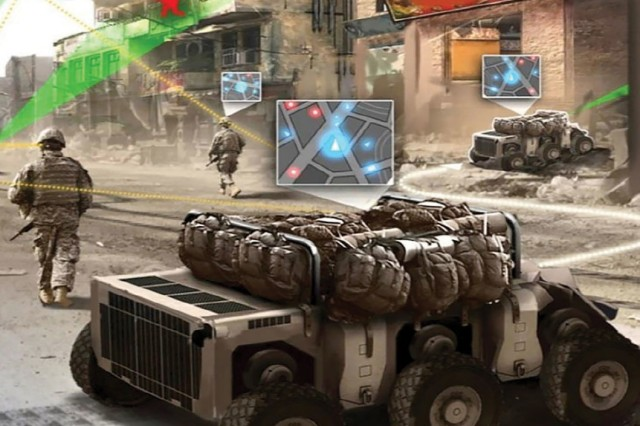 """Future battlefield shows autonomous vehicles with equipment in this artist's rendering of a network-connected environment. The Army has published a new Intellectual Property Management Policy which provides the force with a """"deliberate and balanced"""" strategy to sustain readiness, drive modernization, and foster private innovation."""
