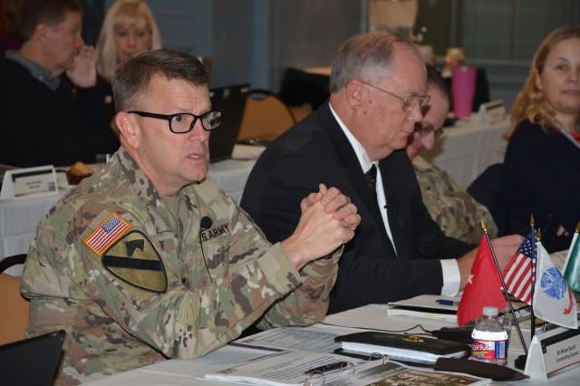 Brig. Gen. Bill Boruff discusses contracting challenges with acquisition senior leaders from throughout the Mission and Installation Contracting Command Dec. 11 in San Antonio. Contracting leaders gathered in San Antonio for an acquisition leadership training event Dec. 11-13. Boruff is the MICC commanding general.