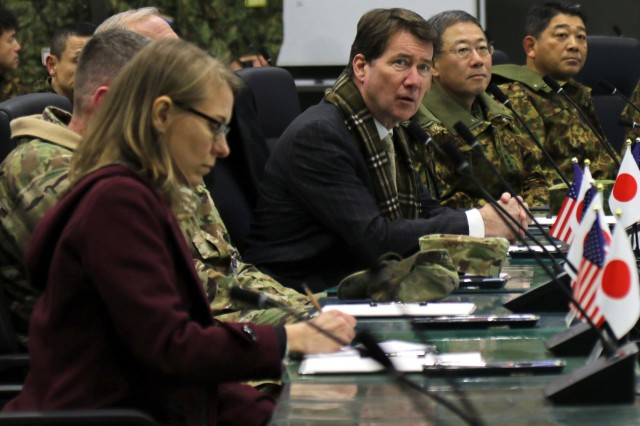 The U.S. Ambassador to Japan, Ambassador William Hagerty, speaks at a brief at the Combined  Operation Integration Cell during Yama Sakura 75 at Camp Higashi-Chitose, Hokkaido, Japan, Dec 12, 2018. Hagerty toured the camp and addressed the significance of the alliance between America and Japan. Yama Sakura is a bilateral training exercise that strengthens the relationship between the U.S. Army and the Japan Ground Self Defense Force through the exchange of ideas, tactics and techniques. U.S. Army photo by Sgt. Erica Earl