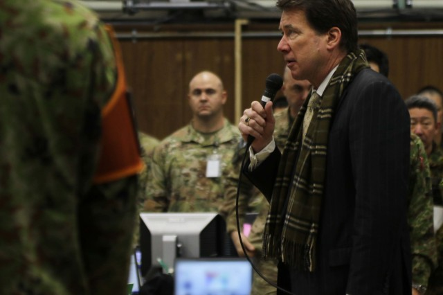 The U.S. Ambassador to Japan, Ambassador William Hagerty, speaks to American and Japanese service members at the Combined  Operation Integration Cell during Yama Sakura 75 at Camp Higashi-Chitose, Hokkaido, Japan, Dec 12, 2018. Hagerty toured the camp and addressed the significance of the alliance between America and Japan. Yama Sakura is a bilateral training exercise that strengthens the relationship between the U.S. Army and the Japan Ground Self Defense Force through the exchange of ideas, tactics and techniques. U.S. Army photo by Sgt. Erica Earl