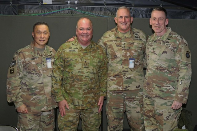 From left to right, The U.S. Army Japan Commanding General, Maj. General Viet Xuang Luong, Deputy Commanding General of U.S. Army Pacific North, Australian army, Maj. Gen. Roger Noble, U.S. Army Pacific Commanding General, Gen. Robert Brown and America's First Corps Commanding General, Lt. Gen. Gary Volesky gather for a general officers' meeting during Yama Sakura 75 at Camp Higashi-Chitose, Hokkaido, Japan, Dec 12, 2018. Yama Sakura is an annual, bilateral command podst exercise between the U.S. Army and the Japan Ground Self-Defense Force designed to strengthen the alliance between America and Japan through sharing military experience and techniques. U.S. Army photo by Sgt. Erica Earl