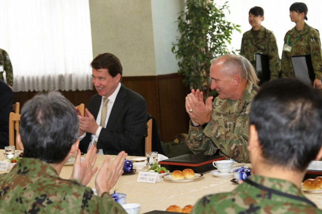 American ambassador to Japan, Ambassador William Hagerty (left) and U.S. Army Pacific Commanding General, Gen. Robert Brown, attend a lunch with officials from the U.S. Army and the Northern Japan Army during Yama Sakura 75 at Camp Higashi-Chitose, Hokkaido, Japan, Dec 12, 2018. Hagerty and Brown discussed the importance of the exercise's role in strengthening the alliance between America and Japan. Yama Sakura is a bilateral exercise that enhances the partnership between the U.S. Army and the Japan Ground Self Defense Force through sharing ideas, tactics and military experience. U.S Army photo by Sgt. Erica Earl