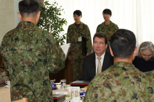 American ambassador to Japan, Ambassador William Hagerty attends a lunch with officials from the U.S. Army and the Northern Japan Army during Yama Sakura 75 at Camp Higashi-Chitose, Hokkaido, Japan, Dec 12, 2018. Hagerty  discussed the importance of the exercise's role in strengthening the alliance between America and Japan. Yama Sakura is a bilateral exercise that enhances the partnership between the U.S. Army and the Japan Ground Self Defense Force through sharing ideas, tactics and military experience. U.S Army photo by Sgt. Erica Earl