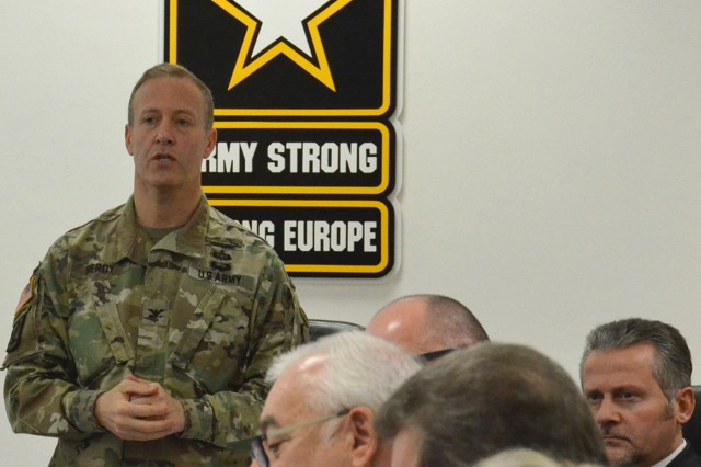 USAG Italy Garrison Commander Col. Erik M. Berdy welcomes officials to third Mayors Summit at Caserma Ederle.  More than 20 mayors from cities and towns around the garrison for a third Mayors Summit on Dec. 11, 2018, to discuss community concerns and share ideas to better integrate Soldiers and their families into life in Italy. The first summit was held in March.  (U.S. Army photo by Laura Kreider)
