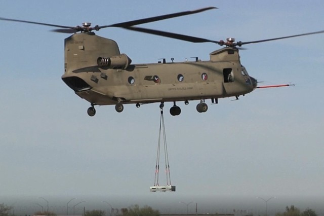 The Chinook Block II undergoes Advanced Chinook Rotor Blade demonstration flight testing.  The event demonstrated validated the ACRB performs as well as or better than the current blade, while providing up to 1750 lbs. of additional lift capability.