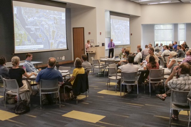 Stacey Underwood, U.S. Army Corps of Engineers, Baltimore District, Silver Jackets Program coordinator, speaks to attendees at the 2018 DC Flood Summit held at the University of the District of Columbia, Sept. 5, 2018. Attendees learned about and discussed the benefits and potential issues associated with several flood risk management alternatives. (U.S. Army photo by John Sokolowski)