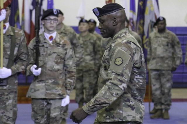 Command Sgt. Maj. LaDerek T. Green, 19th Expeditionary Sustainment Command's incoming command sergeant major, takes his first steps as the unit's senior-most enlisted advisor during his Assumption of Responsibility Ceremony Dec. 12, 2018 at Camp Walker, Daegu, Republic of Korea. Green, who said he always wanted to be a Soldier from the time he was a child, will provide guidance and direction to the 19th ESC through his knowledge and experience derived from 27-years of Army service. (U.S. Army photo by Sgt. 1st Class Jeff Smith)