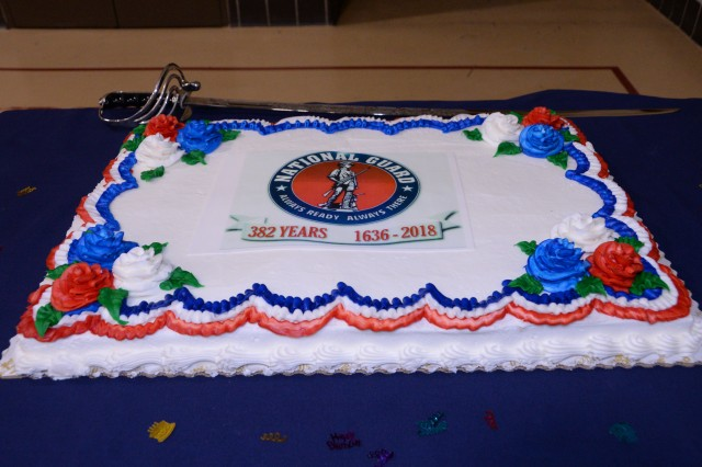 A birthday cake commemorating the National Guard's 382nd Birthday is ready for a ceremonial cake cutting at New York National Guard Headquarters in Latham, N.Y. on Thursday, Dec. 13, 2018. New York National Guard members and employees of the New York State Division of Military and Naval Affairs made time for a short ceremony to mark the National Guard's 382nd Birthday.