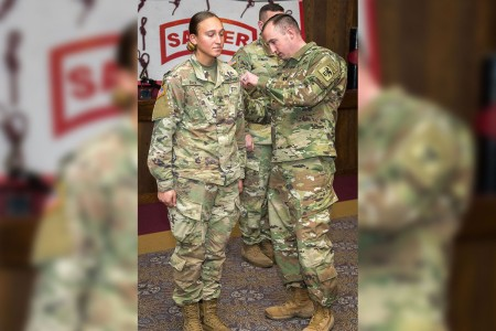 Sergeant Hailey Falk is the Army's first enlisted female Soldier to graduate from the rigorous Sapper Leader Course at Fort Leonard Wood, Missouri, since the program's inception in 1985.
