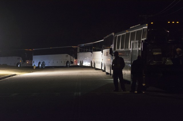 Trainees from Fort Jackson load buses taking them to nearby airports last December as they leave the installation for Victory Block Leave. VBL happens each year as training takes a two week pause so Soldiers and cadre can be with their Families during the holidays.
