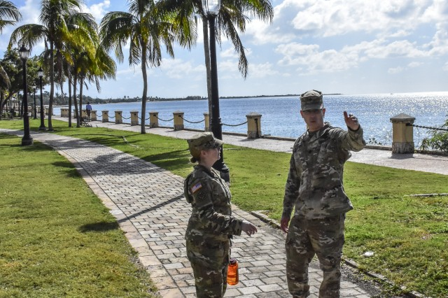 Sergeant Major Witt and Lt. Col. Stimitz make on site coordination for an Emergency Readiness Exercise (EDRE) the 177th Military Police Brigade will conduct with the Virgin Islands National Guard and Virgin Islands civil authorities in Frederiksted, St. Croix, Virgin Islands. This Exercise will validate the capability to respond to an natural emergency.