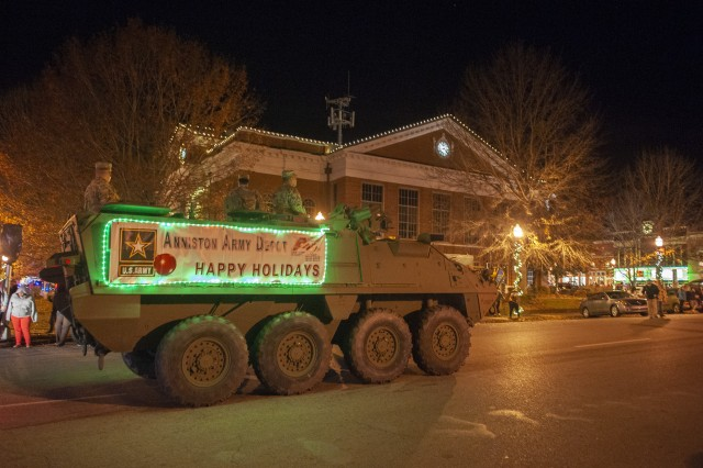 A Stryker vehicle from Anniston Army Depot pulls into the square in Talladega during the Dec. 3, 2018, Christmas Parade.