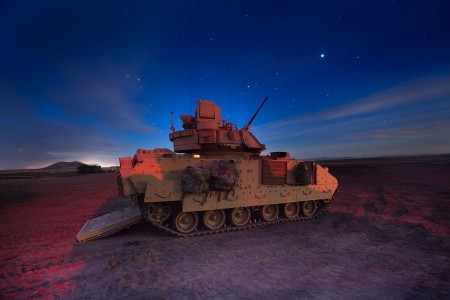 Engineers conduct M2A3 Bradley fighting vehicle gunnery qualification, March 27, 2018, at Orchard Combat Training Center, in Boise, Idaho. Combat engineers with the 116th Brigade Engineer Battalion trained through gunnery table XII, evaluating their ability to execute collective platoon-level tasks in a tactical live-fire environment; including integrating dismounted soldiers with their assigned BFV.